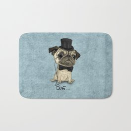 Pug; Gentle Pug (v3) Bath Mat