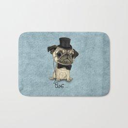 Pug; Gentle Pug (v3) Bath Mat