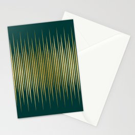 Linear Gold & Emerald Stationery Cards
