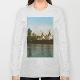 Crow Indian Camp on the Rivers Edge Long Sleeve T-shirt