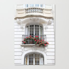 Parisian Balcony with Geraniums Canvas Print