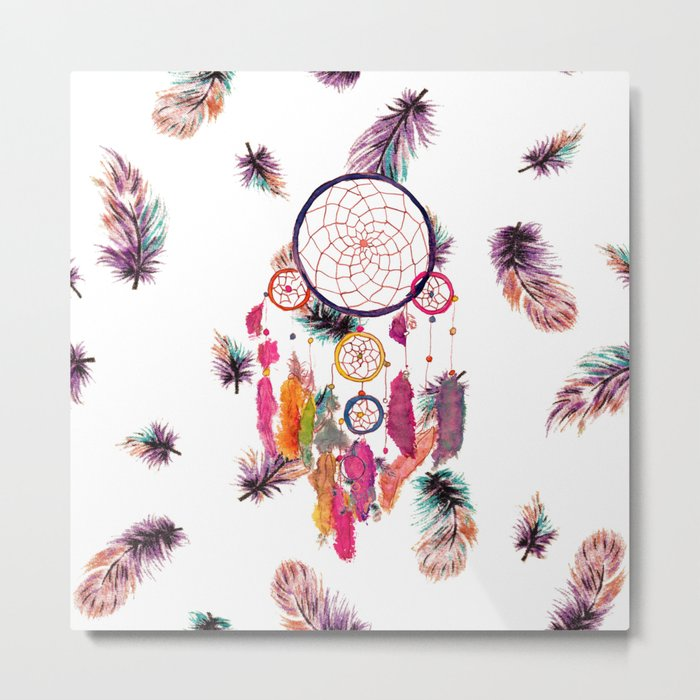 Hipster Watercolor Dreamcatcher Feathers Pattern Metal Print