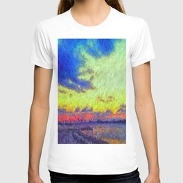 colorful sunset impressionist painting T-shirt