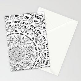 Mandala - Wake Up, Kick A**, Repeat.... Black and White Stationery Cards