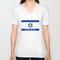 israel V-neck T-shirts featuring Israel country flag name text  by tony tudor