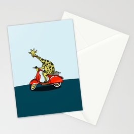 Giraffe riding a moped Stationery Cards