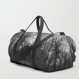 Monochromatic forest path Duffle Bag
