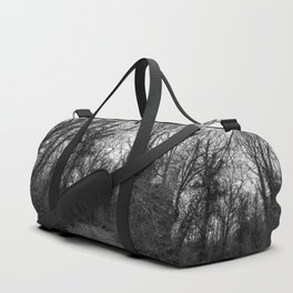 Monochromatic forest path Duffle Bag