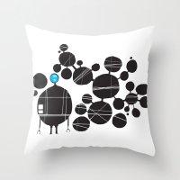 robot Throw Pillows featuring robot by alex eben meyer