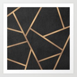 Dark Grey and Gold Textured Fragments - Geometric Design Art Print
