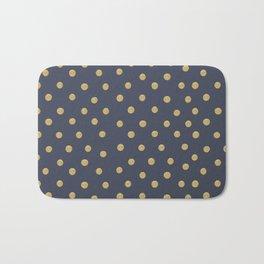 Gold Dots on Blue Bath Mat