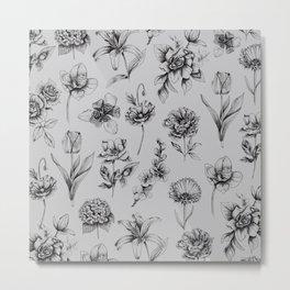 Botanink Pattern Grey Metal Print