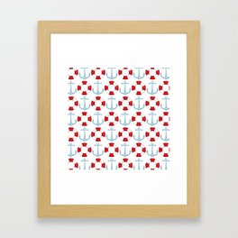 Anchors And Buoys Pattern Framed Art Print