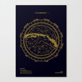 STARMAP 1 blue & gold Canvas Print