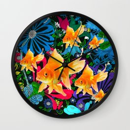 Flowery Goldfish Aquatic Dreamscape Fantasy Wall Clock