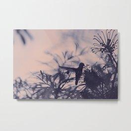 Hummingbird and flowers silhouette Metal Print