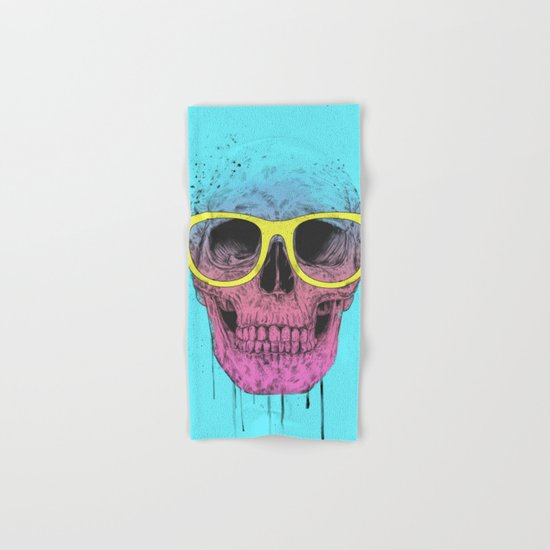 Pop art skull with glasses Hand & Bath Towel