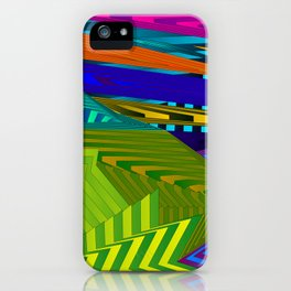 Fancy neon landscap with stylised yellow mountains, sea and Sun. iPhone Case