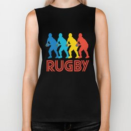 Scrum Half Retro Pop Art Rugby Graphic Biker Tank