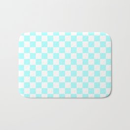 Small Checkered - White and Celeste Cyan Bath Mat