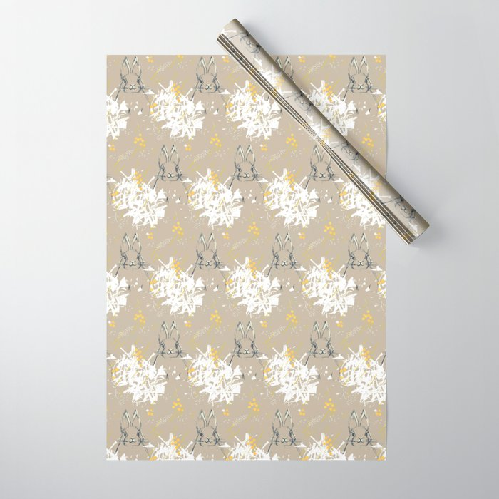 Bunny Portrait M+M Latte by Friztin Wrapping Paper