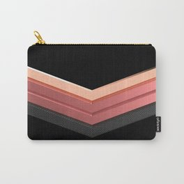 shiny pink rose gold and black leather chevrons home decor design Carry-All Pouch