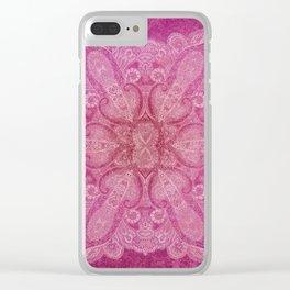 Big paisley mandala in raspberry Clear iPhone Case