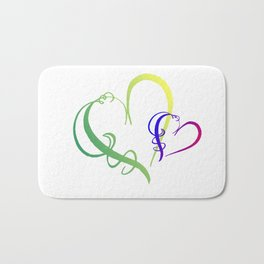 Green and Yellow and Blue and Red Gradient Frilly Hearts Bath Mat