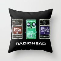 radiohead Throw Pillows featuring Radiohead Pedals Bedroom Rockstar  by James Peart