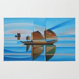 Soft Skies, Cerulean Seas and Cubist Junks Rug
