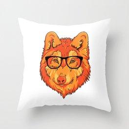 Hipster Wolf Throw Pillow