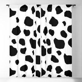 Cow Print, Cow Pattern, Cow Spots, Black And White Blackout Curtain