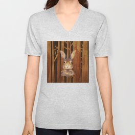Rabbit in the forest - abstract animal hare watercolor illustration Unisex V-Neck