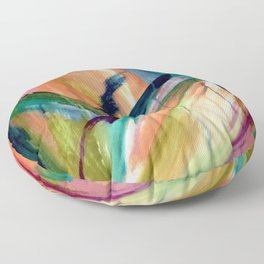 Brave: A colorful and energetic mixed media piece Floor Pillow