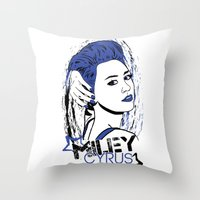 miley cyrus Throw Pillows featuring Miley Cyrus by Becky Doyon