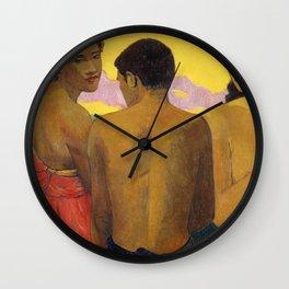 Three Tahitians by Paul Gauguin Wall Clock