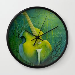 """Sunken Dreams"" Upright Bass Instrument Painting Wall Clock"