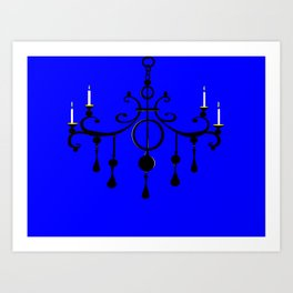 A Chandler with Candles and a Blue Background Art Print