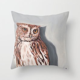 Red Screech Owl Throw Pillow