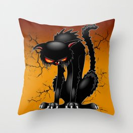 Black Cat Evil Angry Funny Character Throw Pillow