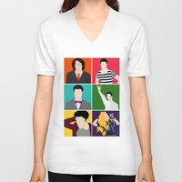 hedwig V-neck T-shirts featuring From Harry To Hedwig by byebyesally