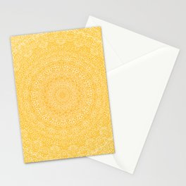 The Most Detailed Intricate Mandala (Mustard Yellow) Maze Zentangle Hand Drawn Popular Trending Stationery Cards