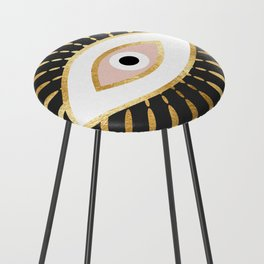 gold foil evil eye in blush Counter Stool