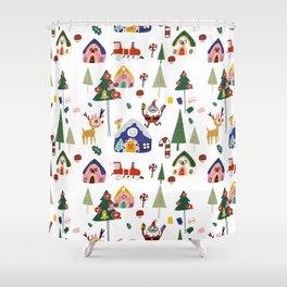 Santa Claus White #Christmas #Holiday Shower Curtain