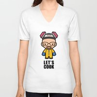 cook V-neck T-shirts featuring Let's Cook by Papyroo