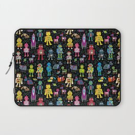 Robots in Space - on black Laptop Sleeve