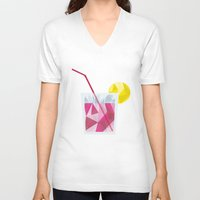 cocktail V-neck T-shirts featuring Cocktail by Alessandra Gagliano