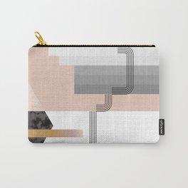 Peach Stripe Deco Hexagon Carry-All Pouch