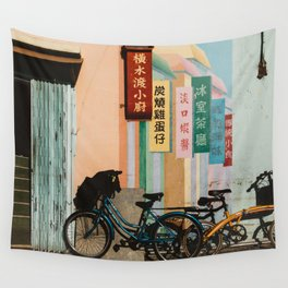 Bicycle Shadows Wall Tapestry