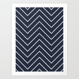 Yacht style. Navy blue chevron. Art Print